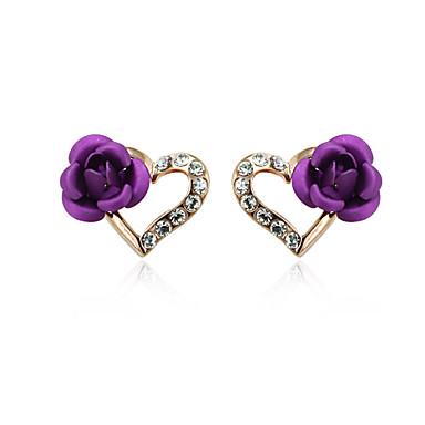 Buy T&C Women's Heart Purple Rose Stud Earrings 18K Gold Plated Jewelry Austrian Crystal
