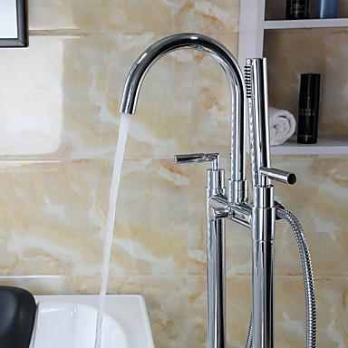 Badkraan modern inclusief handdouche staat op vloer messing chroom 3406319 2016 - Moderne badkraan ...