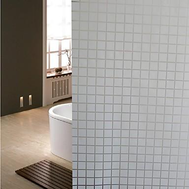Bathroom window film stickers white grid glass door for 100 cm window box