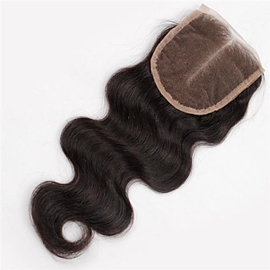 Buy 1Pc/Lot 1Pc Brazilian Virgin Human Hair Top Closure Natural Color #1B Wavy Unprocessed