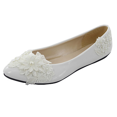 Womens Shoes Low Heel Pointed Toe Flats Wedding White 3311155 2016 4499