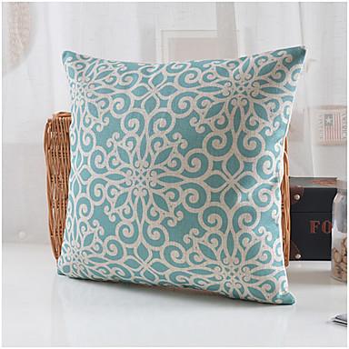 Buy Blue Blossom Pattern Cotton/Linen Decorative Pillow Cover