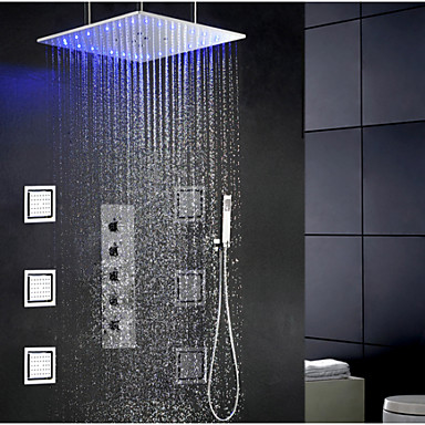 swash and rainfall bathroom led shower faucet set 20 inch ceil mounted shower head and 6 pcs. Black Bedroom Furniture Sets. Home Design Ideas