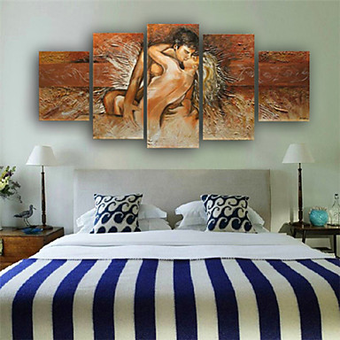 100% Hand-painted Nude Body Made Lovers Romantic Love Story Abstract Oil Pain...