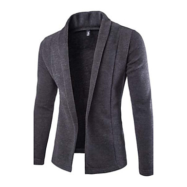 Men's Solid Casual Blazer,Others Long Sleeve Black / Gray