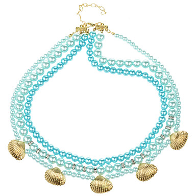 Blue Three Layer Glass Pearl Alloy Shell Necklace