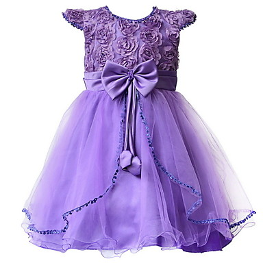 Buy Children Girl's Purple Evening Party Floral Accessories Dress , Lace Polyester / Others Seasons Girls 3~7Years