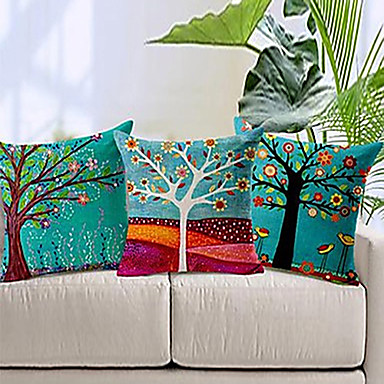 Buy Set 3 Colorful Floral Tree Cotton/Linen Decorative Pillow Cover