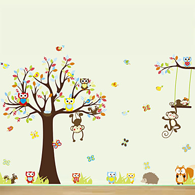 Buy Wall Stickers Decals, Large Animals Owls Tree PVC Sticker