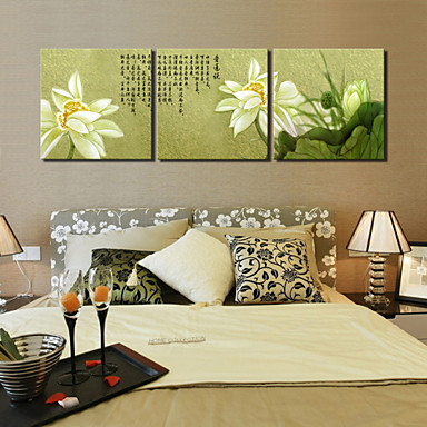 visual star 3 panel chinese painting water lily flower