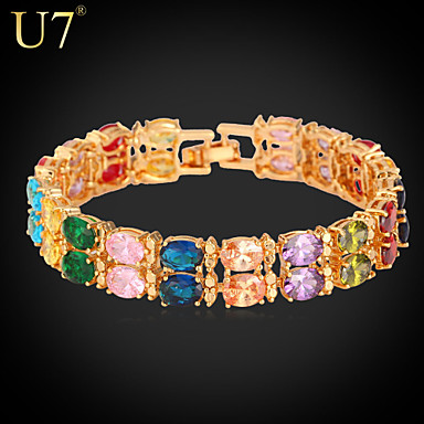 Buy U7® Women's Colorful Charm Bracelet Oval CZ Platinum/18K Real Gold Plated Exquisite Cubic Zirconia Tennis