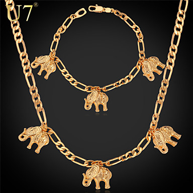 Buy U7® Women's Figaro Chain Bracelet 18K Real Gold Plated Gifts Girls Cute Elephants Charm Necklace Jewelry Sets