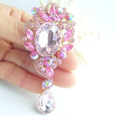 3.35 Inch Gold-tone Pink Rhinestone Crystal Drop Flower Brooch Pendant Art De...
