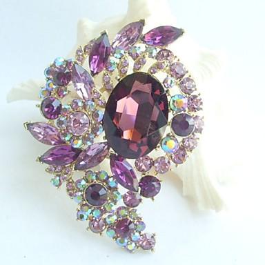 3.15 Inch Gold-tone Purple Rhinestone Crystal Flower Brooch Pendant Art Deco
