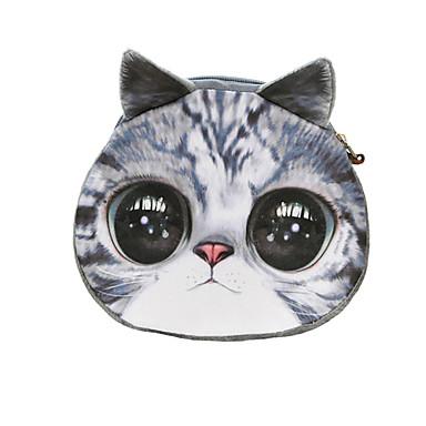 Women Coin Purse Cat Animal Print Mini Wallet Zipper Closure Small Clutch Bag