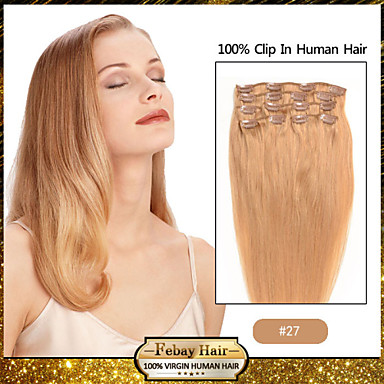 18 7pcs strawberry blonde 27 clip in remy human hair