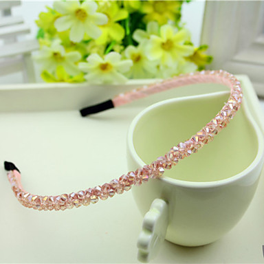 South Korea Imported Hairpin Rhinestone Beaded Head Hoop Decorations Double Row Crystal Pink Hair Straps