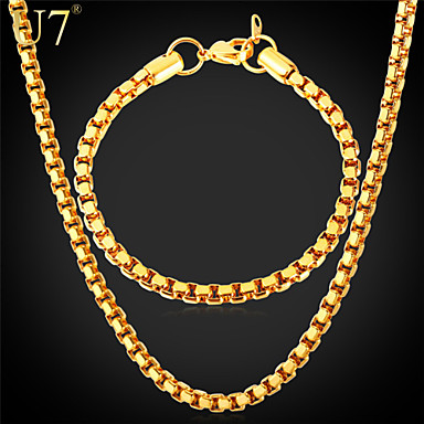 Buy U7® Men's Classical Box Chain Bracelet Stainless Steel Jewelry 18K Real Gold Plated Necklace Set