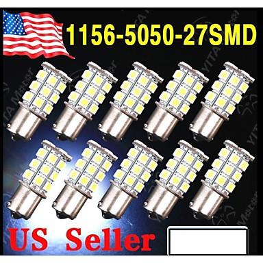 Buy 10 X White 1156 BA15S LED 27-SMD Light bulbs Tail Backup RV Camper 1141 1003