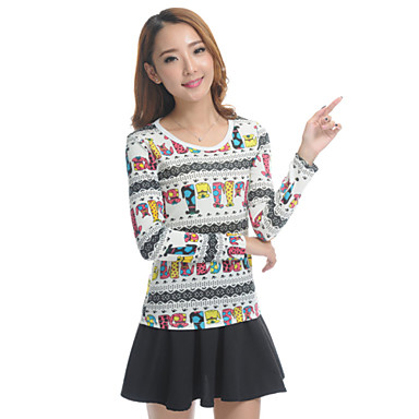 Women 39 S Print Multi Color T Shirt Loose Fit Round Neck