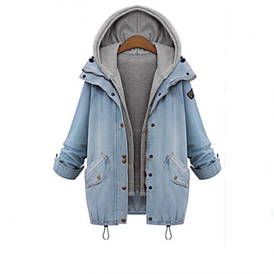 Women's Solid Blue Denim Coat , Casual / Plus Sizes