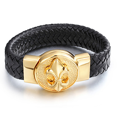 Buy Men's Cool Heavy Antique Flower 316L Stainless Steel Gold Plated Leather Bracelets