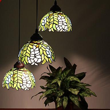 Buy E27 220V 20*20CM 5-10㎡European Rural Creative Arts Stained Glass Chandelier Restoring Ancient Ways Lamp Led Light