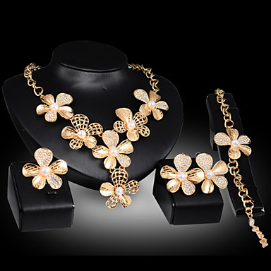 Buy Lucky Doll Women's Vintage 18K Gold Plated Imitation Pearl 3D Flower Necklace & Earrings Bracelet Ring Jewelry Sets