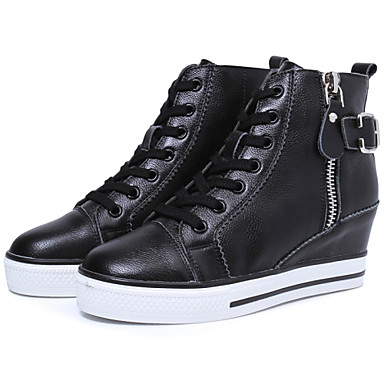 Buy Genuine leather Fashion Wedges Sneakers Leather buckle Side zipper open Size 35~39 Height Increasing 6cm Women's Shoes