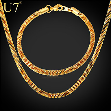 Buy U7® Men's Fashion Gold Chain 26 Inches 18K Real Plated/316L Stainless Steel Round Mesh Bracelet Necklace Set