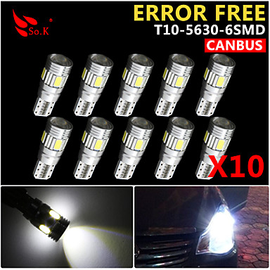 Buy 10x Canbus Wedge T10 White 192 168 194 W5W 6 5630 SMD LED Light Lamp Bulb Error Free 12V