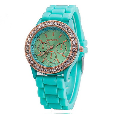 Women's Watch Fashion Gold Diamante Case Candy Color Silicone Band Cool Watches Unique Watches