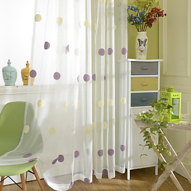 Deux panneaux le traitement de fen tre moderne a pois for Decoration fenetre chambre a coucher
