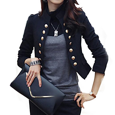 Women's Casual/Daily / Work Street chic All Seasons Blazer,Solid Standing Collar Long Sleeve White / Black Cotton / Polyester Medium