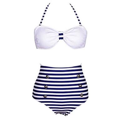 Women's Retro/High waist/Bandeau Strips Print White/Navy Blue Bikini,Vintage Halter High Rise