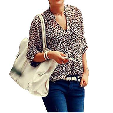 Women's Leopard Stand Collar Chiffon Flanging Long Sleeve Chiffon Blouse Shirt Plus Size