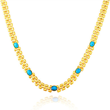 Buy Green Turquoise Stone Fashion Trendy Stamp 18K Gold Plated Chain Necklaces Women Party Gift N50130