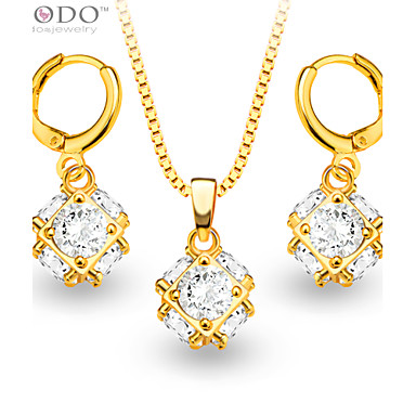 Buy Luxury Crystal Necklace Earrings Jewelry Sets 18K Gold Plated fashion zircon Set Women Party Gift S20062