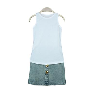 Buy Girls Kids T-Shirt Top Vest Denim Skirt Button O Neck Sleeveless Casual Children Two-Piece Set