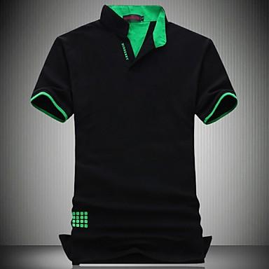 Men's Fashion Slim Polo Shirt , Cotton / Polyester Casual / Plus Sizes Pure