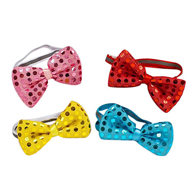 Buy Dog Collar / Bow Tie Adjustable/Retractable Bowknot Sequins Red Blue Pink Textile