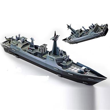 Buy Jigsaw Puzzles 3D Building Blocks DIY Toys Warship Paper Green / Gray Model & Toy