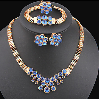 Buy MISSING U Vintage / Party Gold Plated Alloy Gemstone & Crystal Necklace Earrings Bracelet Ring Jewelry Sets