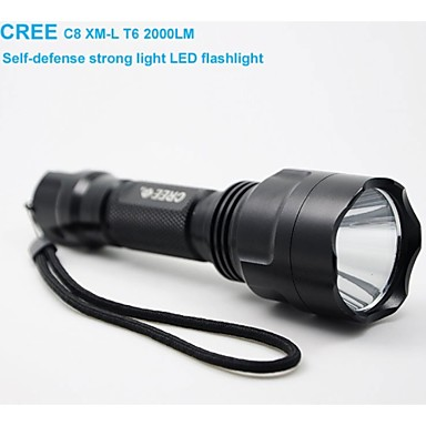 Buy C8 CREE XM-L T6 2000 Lumens High Power Torch LED Metal Flashlight SOS Five-speed Dimming Self-defense Strong
