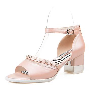 Zapatos de mujer tac n robusto punta abierta sandalias for Zapatos de trabajo blancos