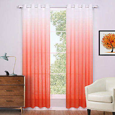 Two Panels Modern Solid Orange Living Room Polyester Panel Curtains Drapes 52