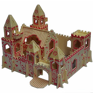 Buy Jigsaw Puzzles 3D / Wooden Building Blocks DIY Toys Castle Wood Beige Model & Toy
