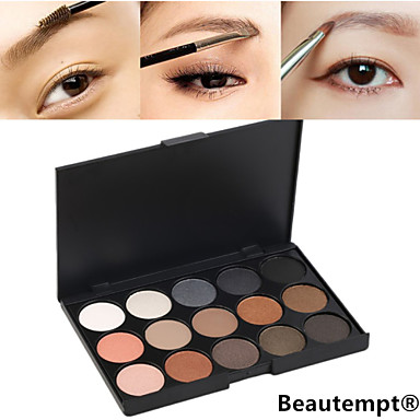 Buy 15 Colors Professional 2in1 Natural Long Lasting Smoky Matte&Shimmer Eyebrow Powder/Eyeshadow Cosmetic Palette
