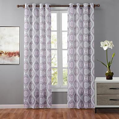 un panneau designer g om trique multicolore chambre coucher polyester panneau rideaux rideaux. Black Bedroom Furniture Sets. Home Design Ideas