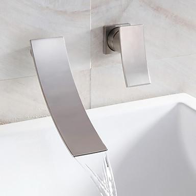 Waterval badkamer wastafel kraan wijdverspreide eigentijds ontwerp kraan nikkel finish 4997246 - Badkamer meubilair ontwerp eigentijds ...